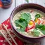 Thai Mahi Mahi Curry in red bowl with chopsticks