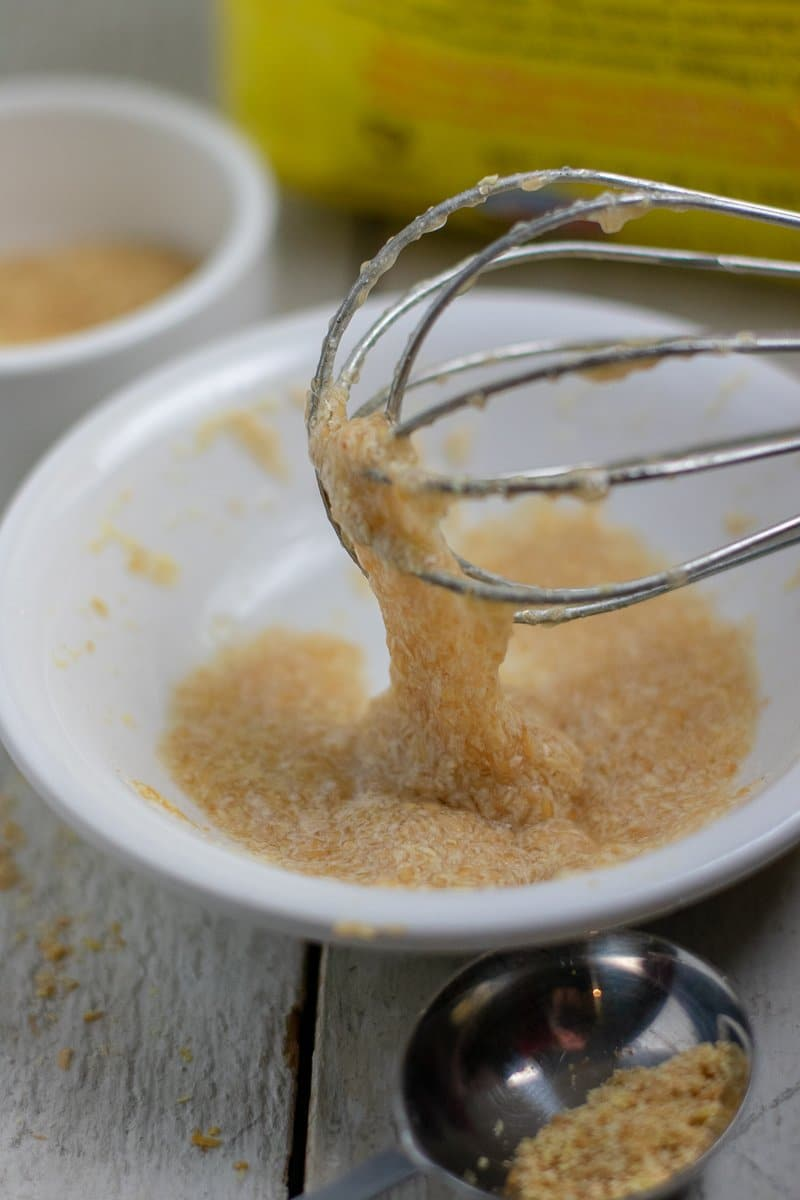 Flax egg mixture allowed to gel and attach to wire whisk