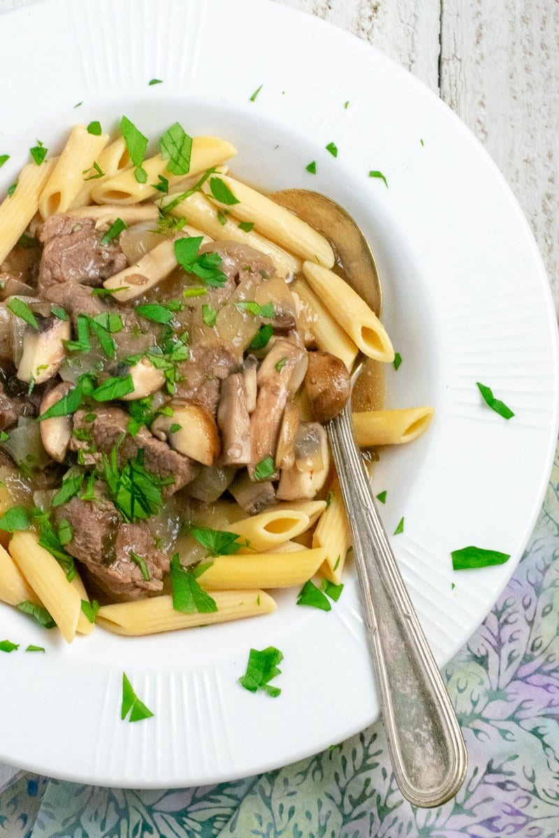 30 minute Instant Pot Beef Stroganoff overhead view in white bowl