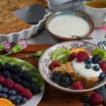 Flourless Oatmeal Pancake wedge with fruit and kefir