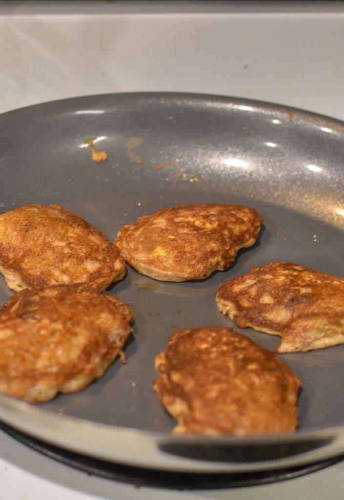 Flourless Oatmeal Pancakes in nonstick skillet