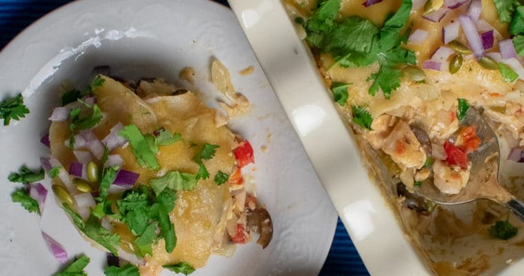 Easy Layered Green-Chili Chicken Enchiladas