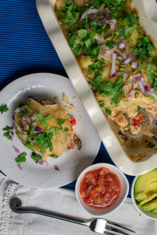 Easy Layered Green-Chili Chicken Enchiladas