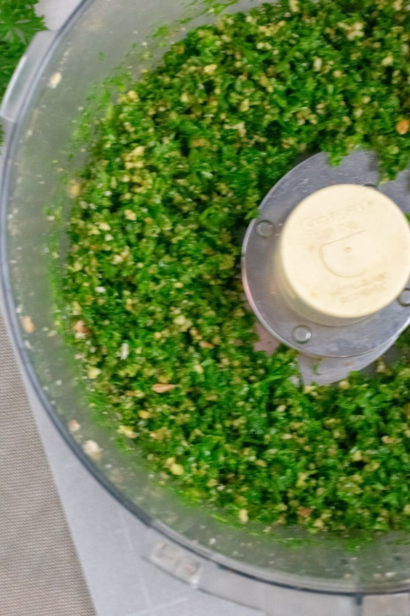 Nut Pesto overhead view in food processor