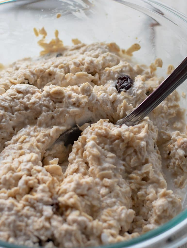 Oats and Raisins soaked in coconut milk for flourless pancakes