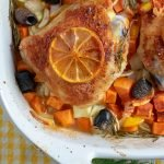 Roasted Chicken with vegetables closeup in baking pan