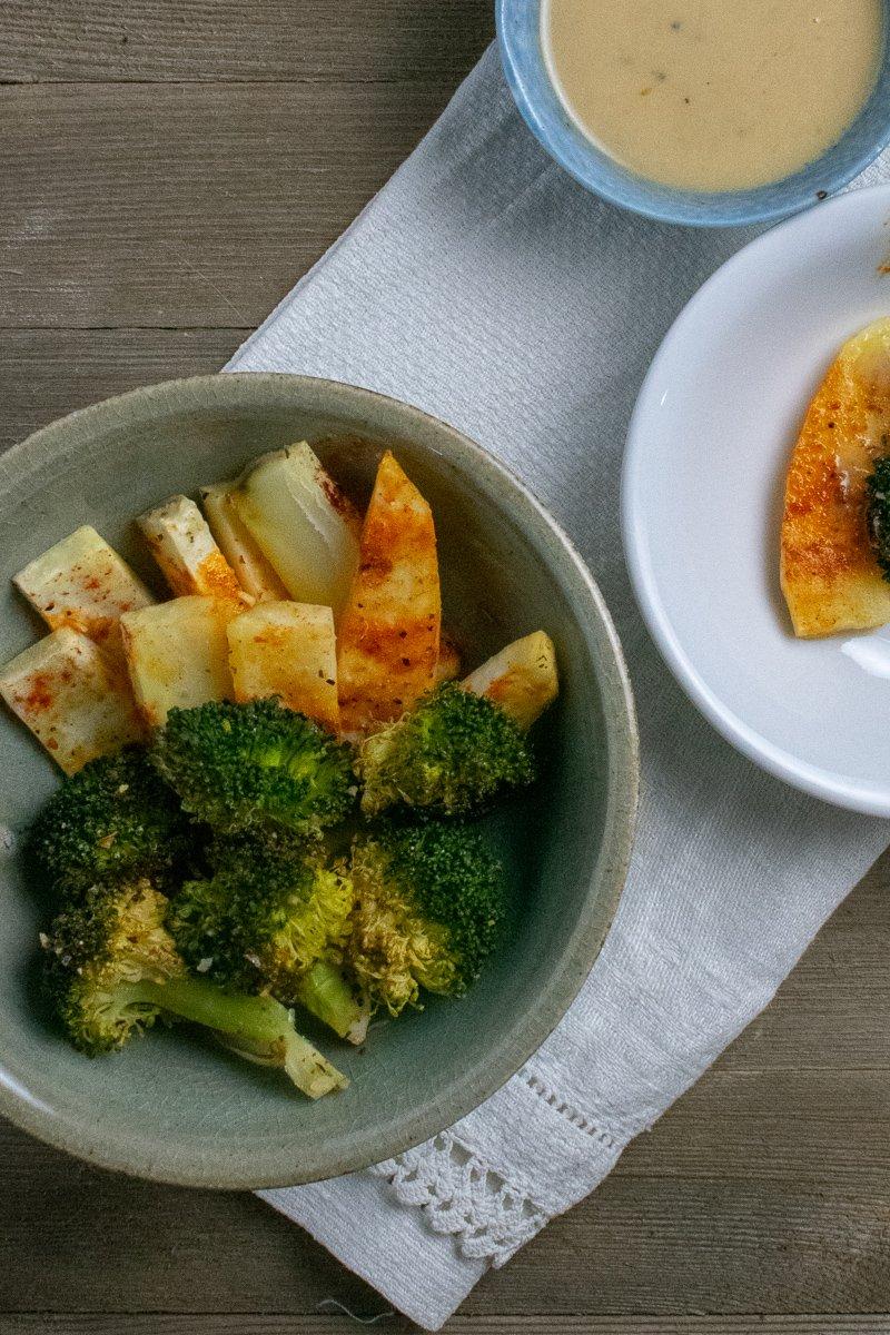 Lemon-Roasted Broccoli and White Sweet Potatoes