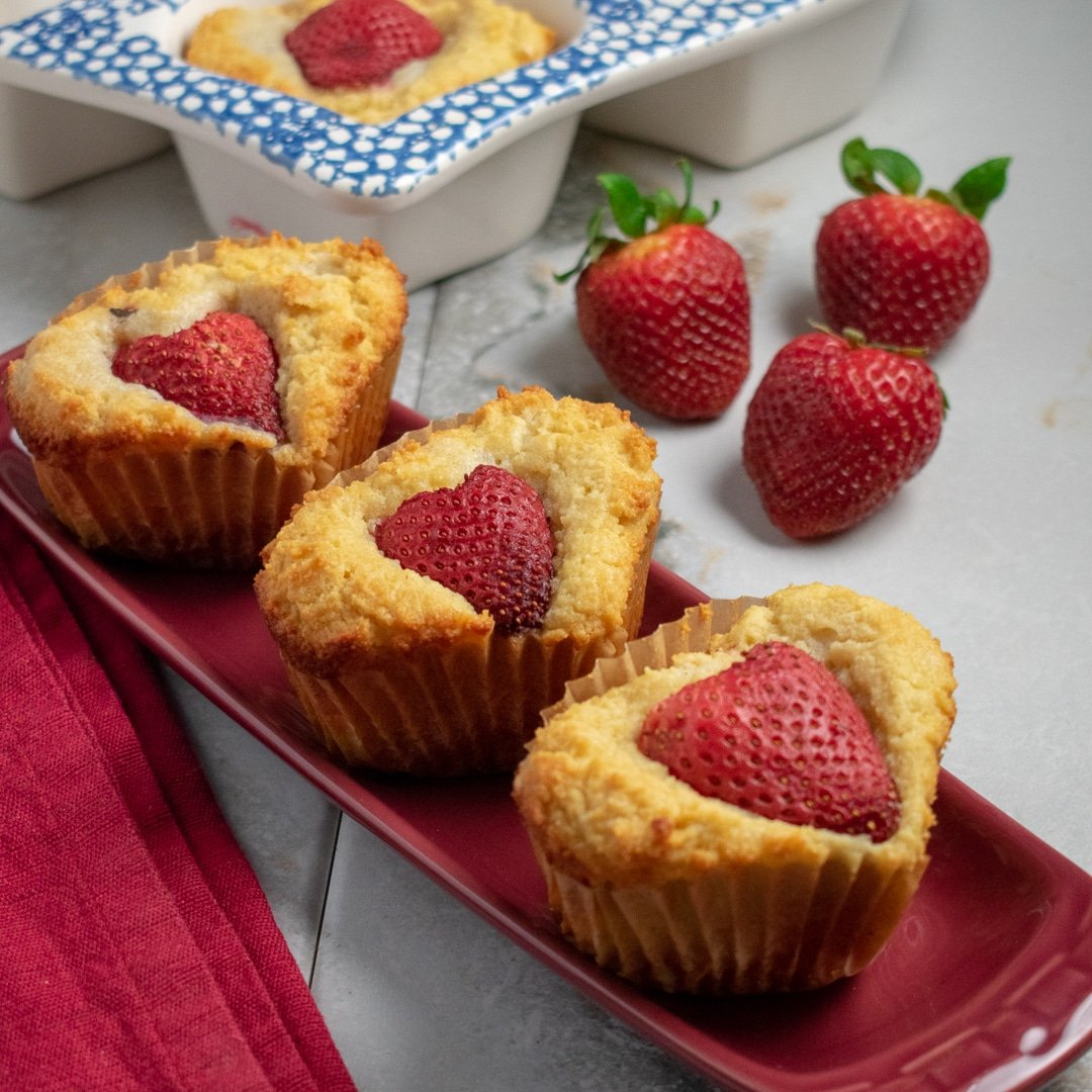 Strawberry-Almond Heart Cakes