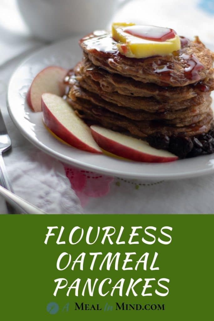 stack of oatmeal pancakes on a white plate side view with text banner