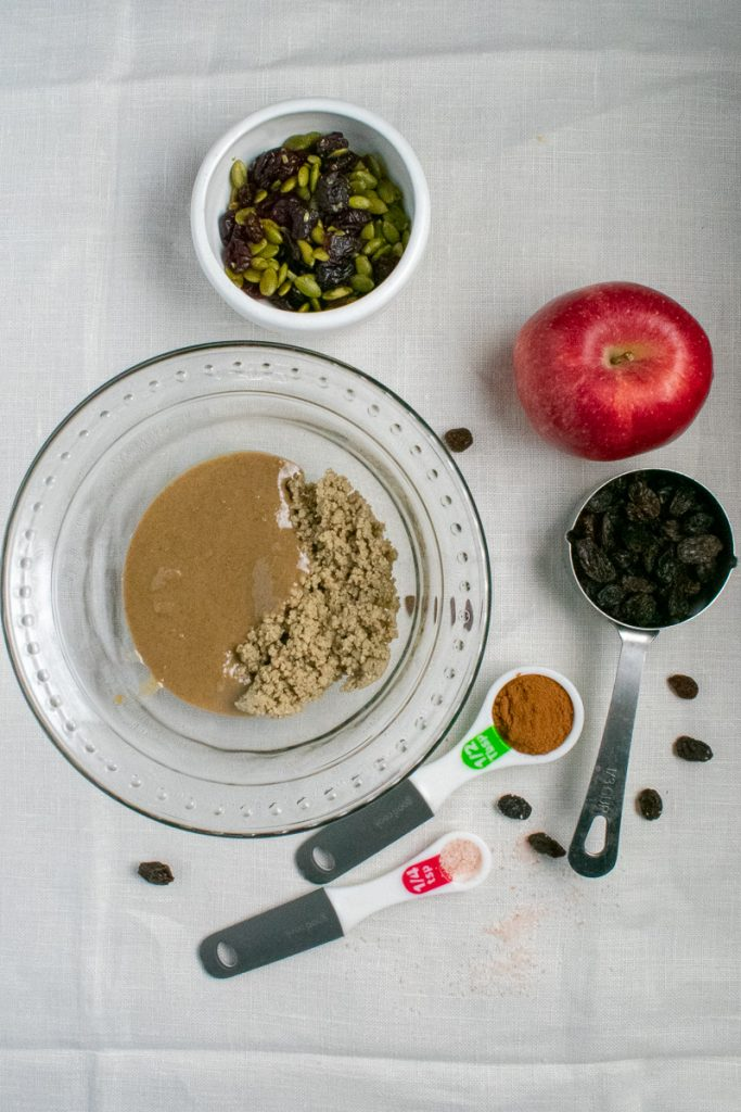 Ingredients for baked apples on white background