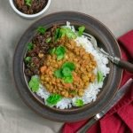 Spiced Lentils with Beef in brown bowl square