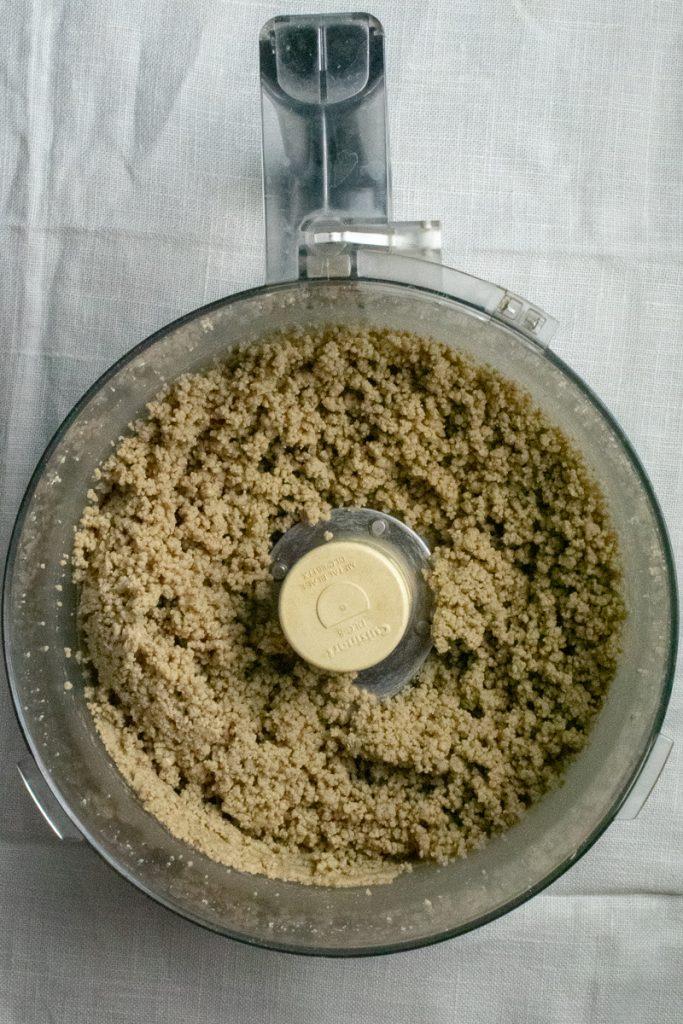 Sunflower seeds ground in food processor