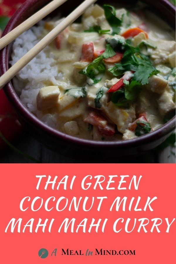 Thai Green Curry on white rice in red ceramic bowl with chopsticks and red text banner at bottom
