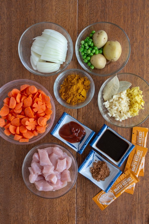 Ingredients in bowls for Japanese chicken curry from scratch