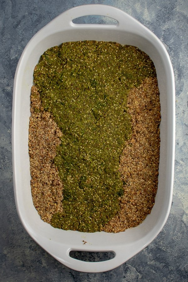 moringa fruit-nut-ola in white baking pan