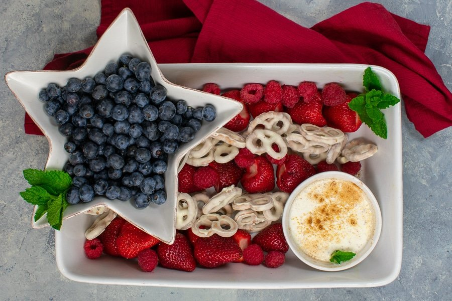 patriotic fruit tray with berries and yogurt pretzels