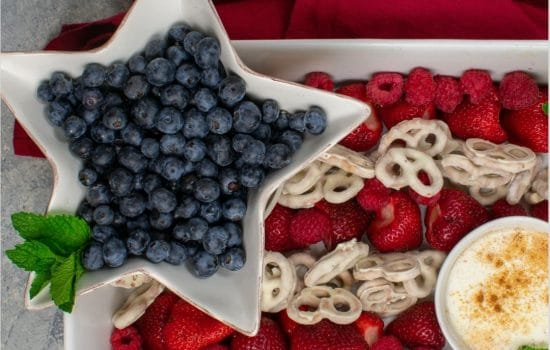 Patriotic Fruit Tray with Spiced Yogurt Dip