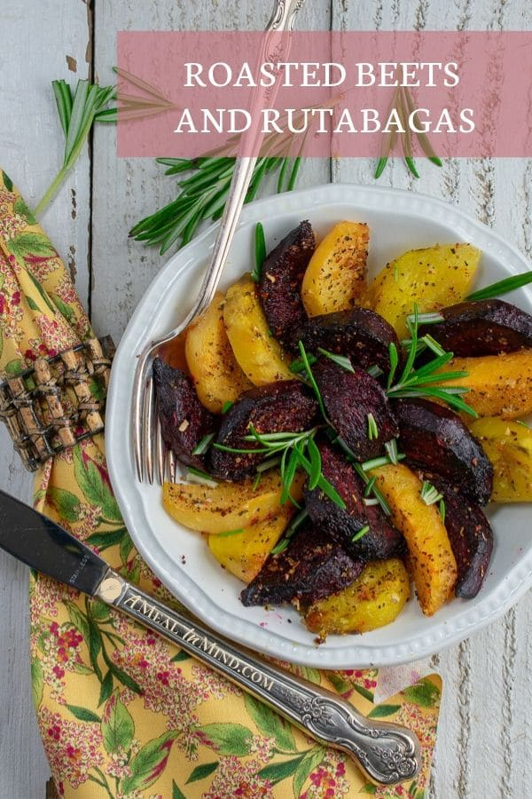 Roasted Beets and Rutabagas on white plate