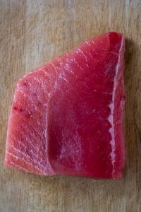 opah fillet on bamboo board
