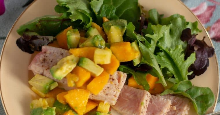 Seared Opah with papaya-avocado salsa