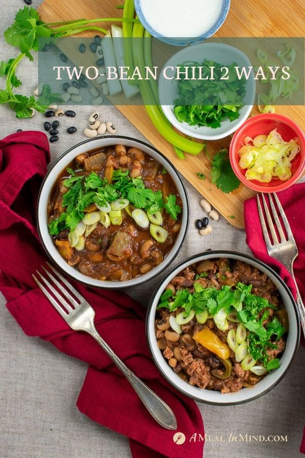 Pinterest image of chili with and without meat in separate bowls with toppings