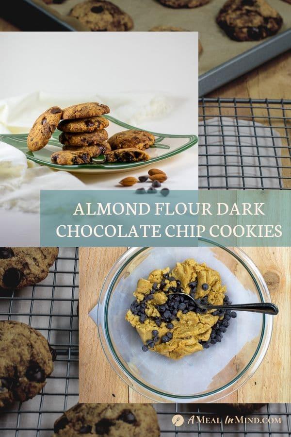 almond flour dark chocolate chip cookies pinterest collage