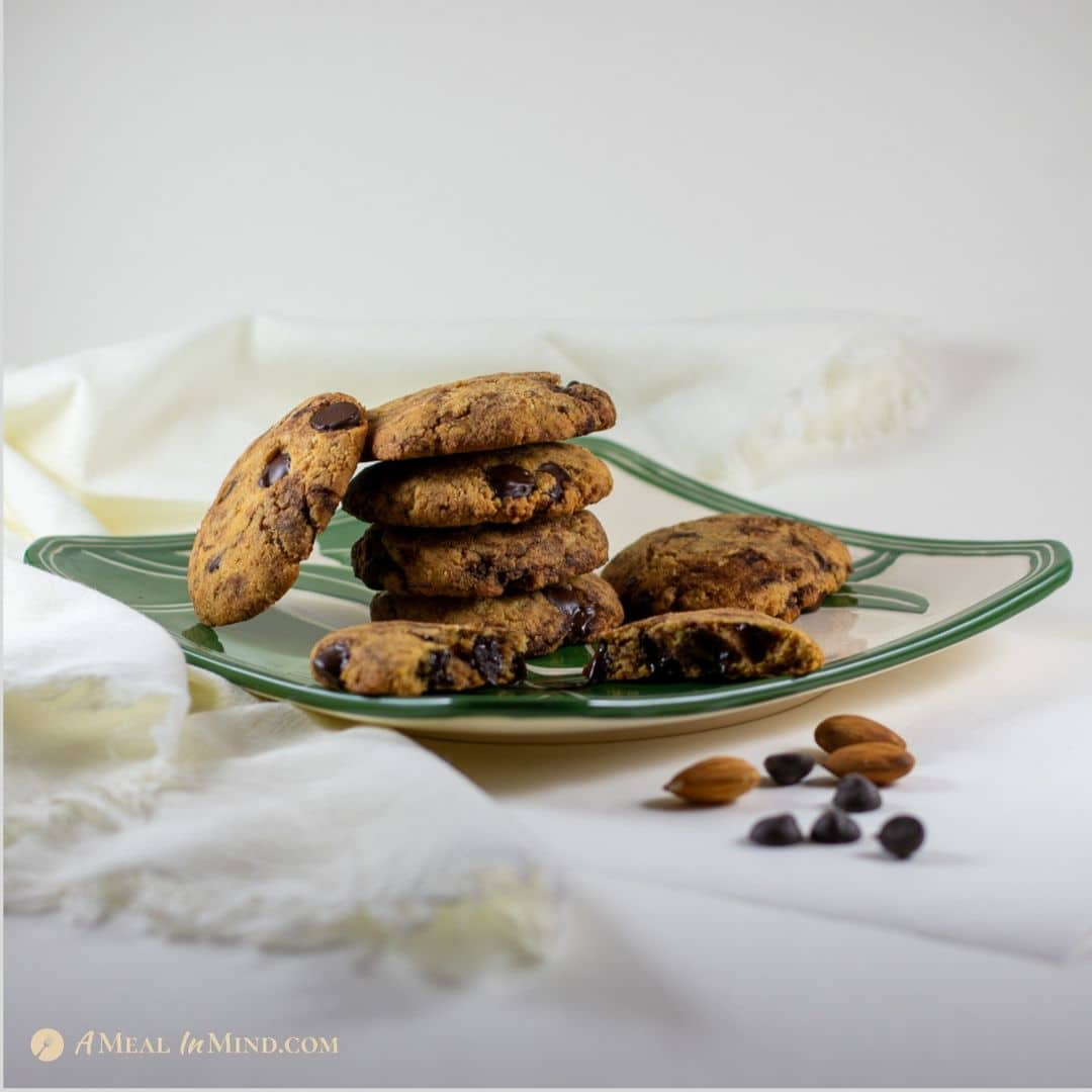 almond flour dark chocolate chip cookies on hawaiian plate side view