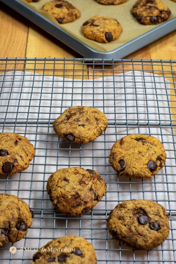 almond flour dark chocolate chip cookies on cooling rack