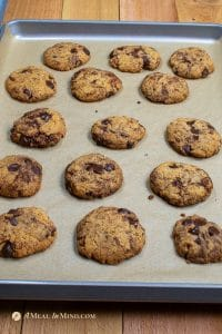almond flour chocolate chip cookies baked on cookie sheet