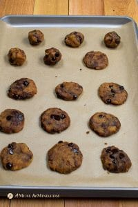 almond flour chocolate chip cookies unbaked on baking sheet