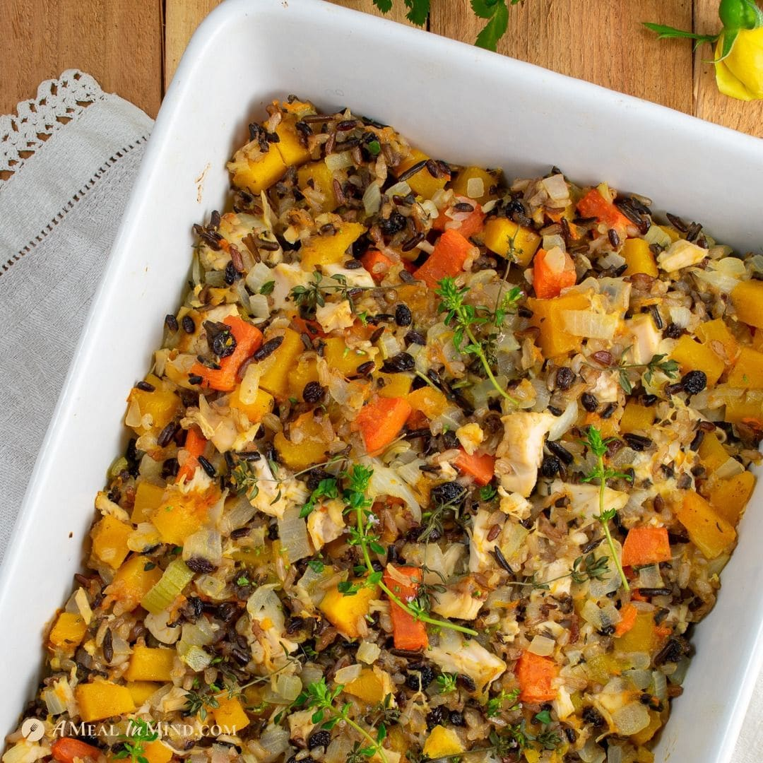 Butternut Squash Chicken Rice Bake