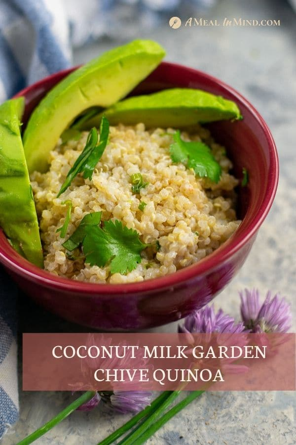 herbed coconut milk quinoa - 4 ingredients in red bowl