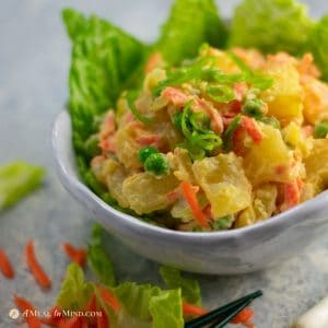 delicious Hawaii style potato salad in white bowl