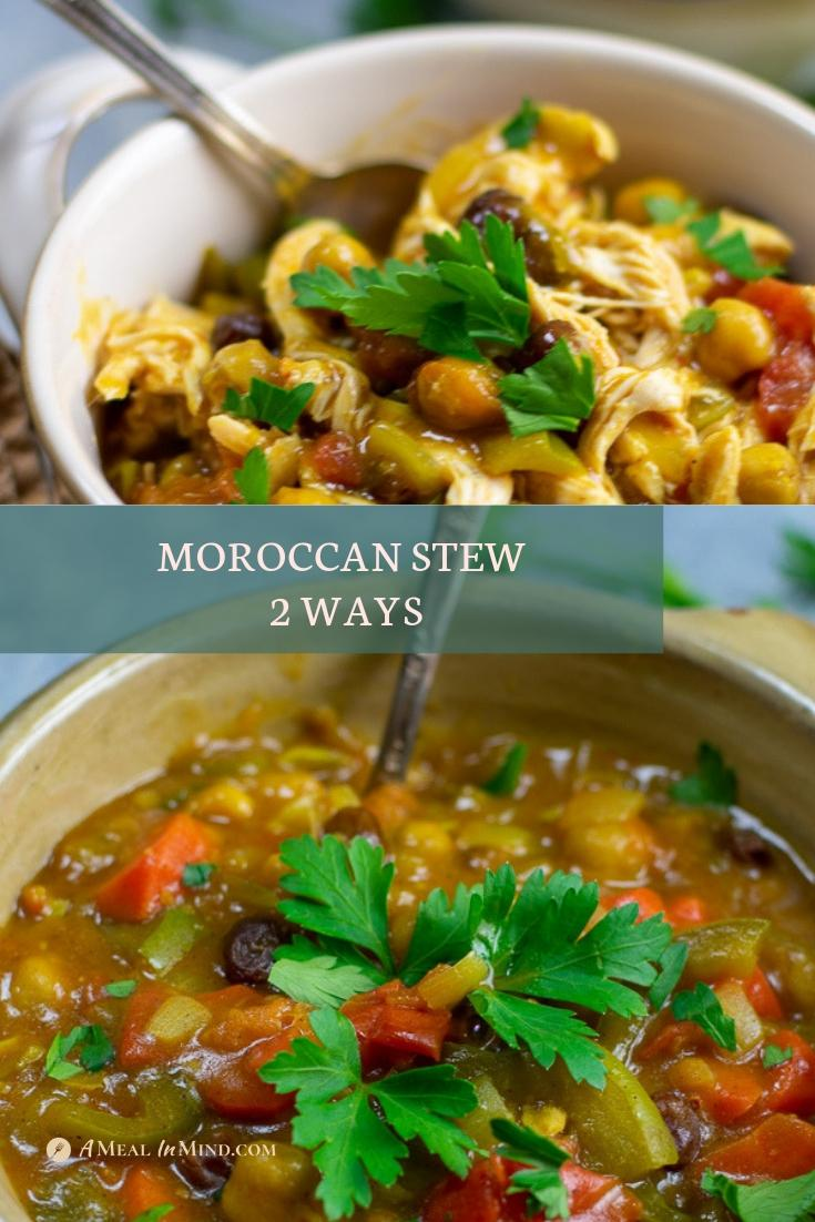 moroccan stew 2 ways with and without chicken in bowls