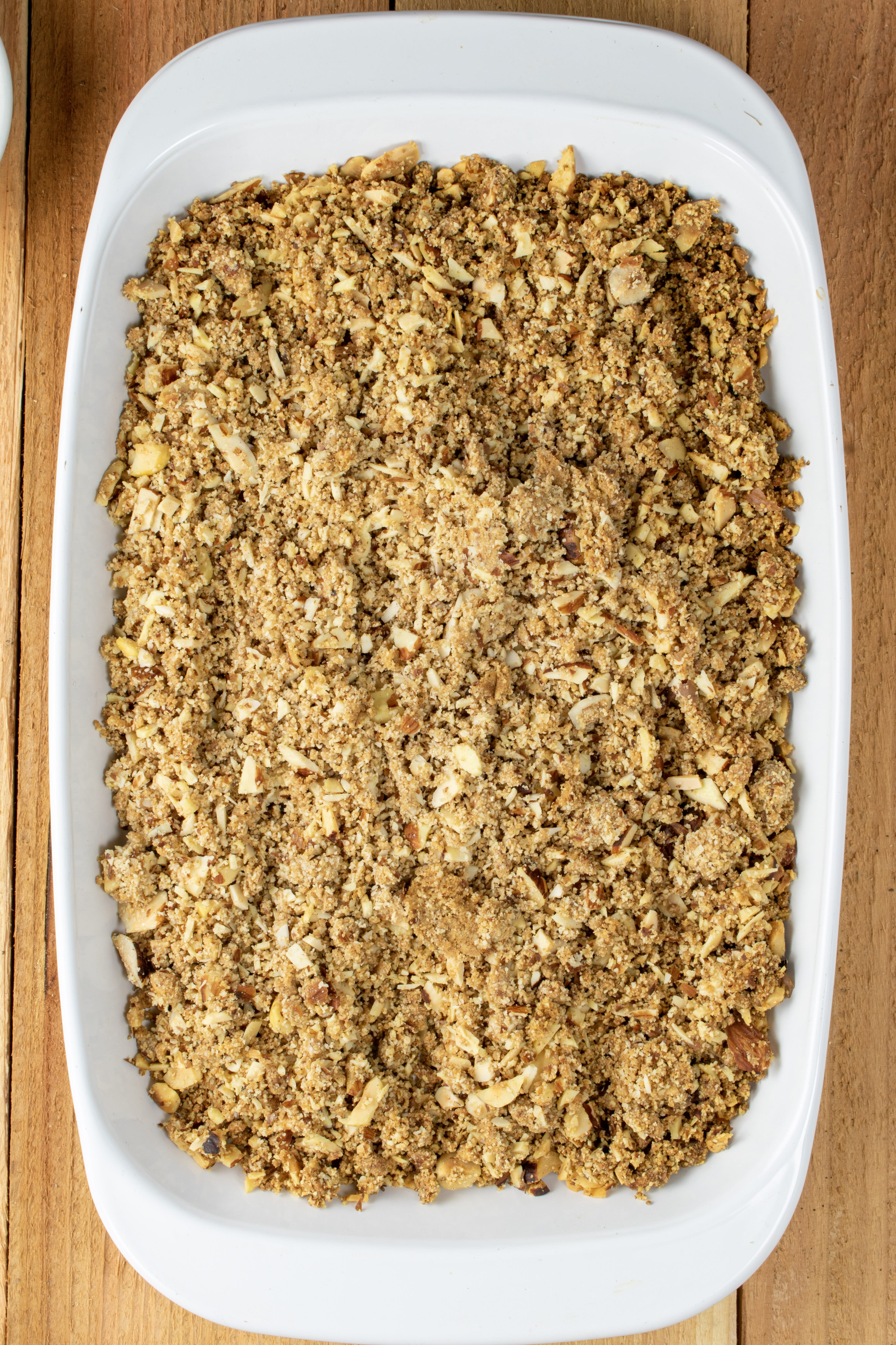 nut and spice parfait topping in baking dish