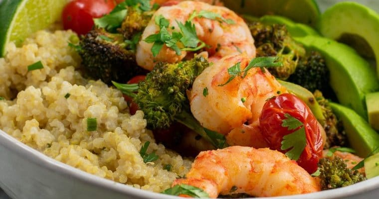 Roasted Shrimp with Broccoli and Cherry Tomatoes – One Pan