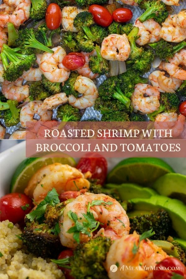pinterest collage of roasted shrimp with broccoli and tomatoes
