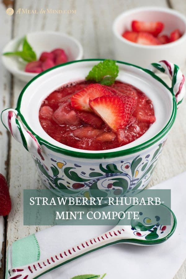 strawberry rhubarb mint compote in patterned bowl on white table