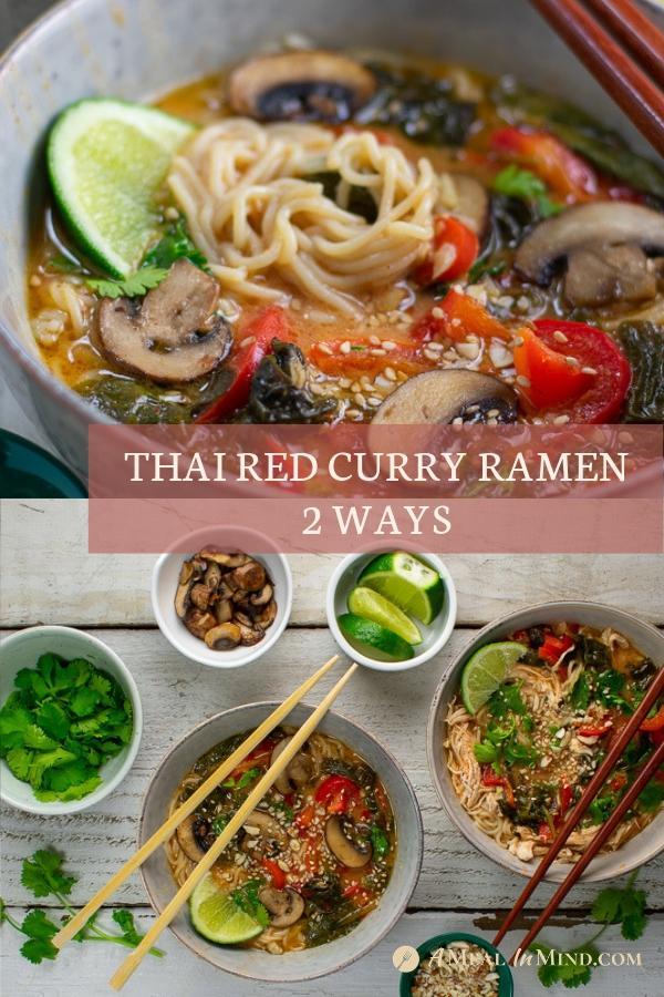 thai red curry ramen 2 ways in bowls with chopsticks