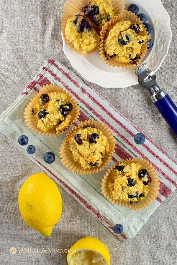 just-baked blueberry lemon almond flour muffins