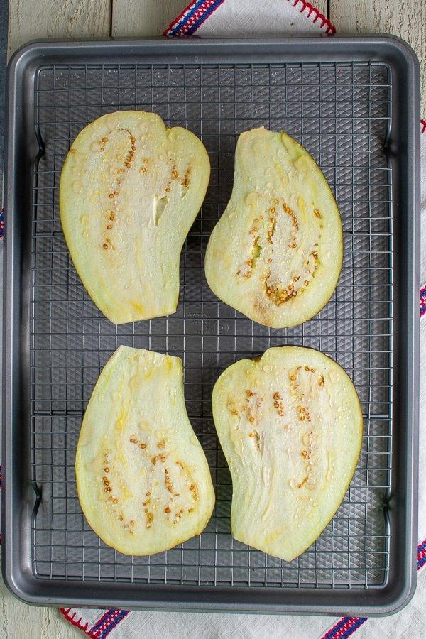 sliced eggplant on rack