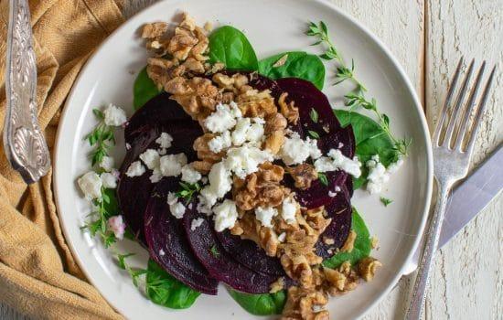 Beet-Feta Salad with Garlicky Crispy Walnuts