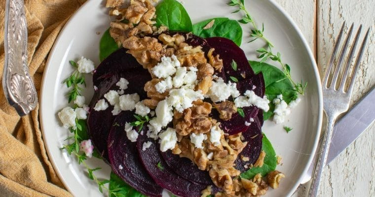 Beet-Feta Salad with Garlicky Crispy Walnuts