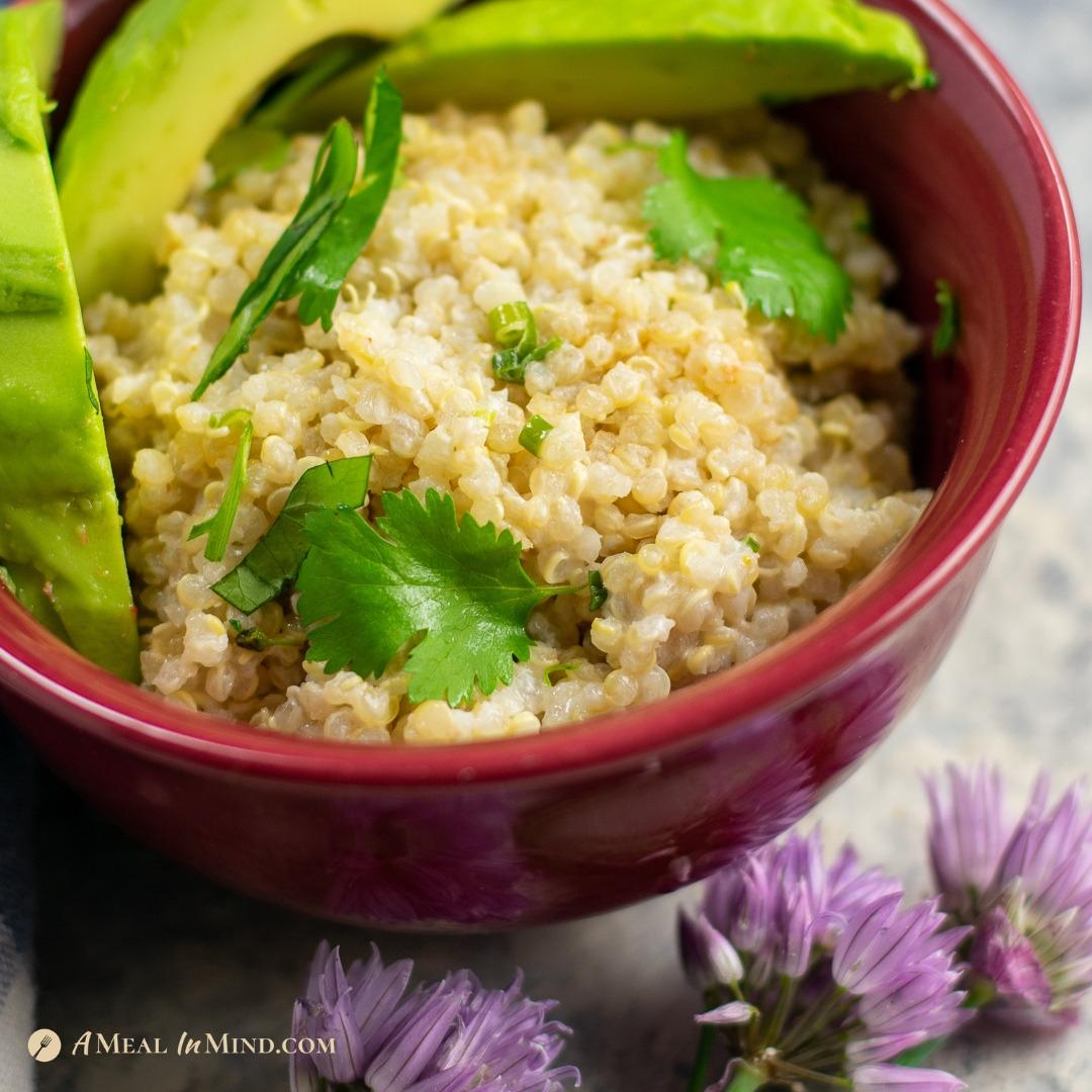 delicious Herbed coconut milk quinoa in red bowl with chive flowers