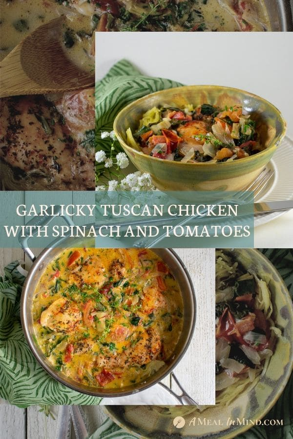 pinterest image of delicious tuscan chicken with spinach, tomatoes, and artichokes