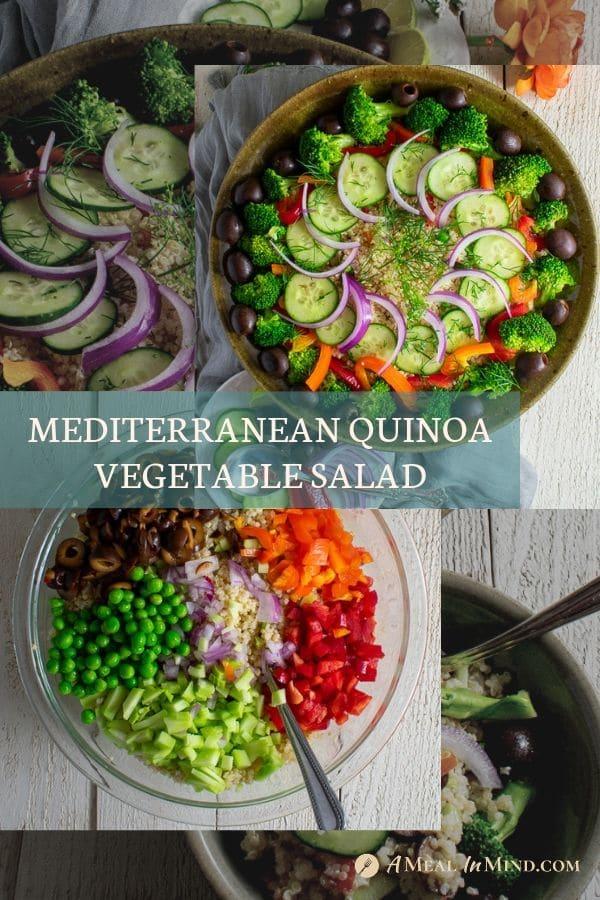 pinterest collage of images of mediterranean quinoa salad