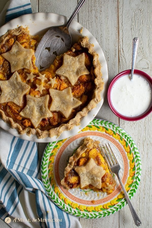 beautiful easy colorado peach pie with star cutouts