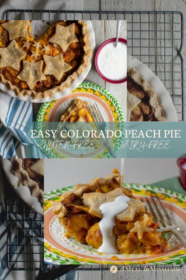 pinterest collage of easy colorado peach pie with non dairy kefir drizzle