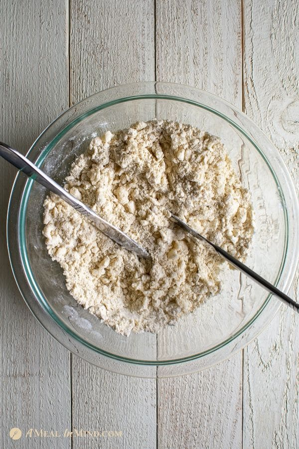 cutting in coconut oil into gluten-free flours for coconut oil pie crust