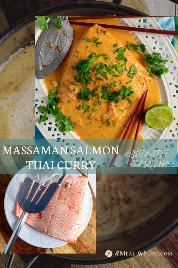 pinterest collage 2 of easy massaman salmon thai curry